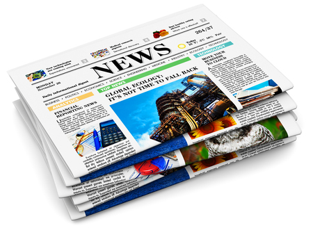 Photo pour 3D render illustration of the stack of newspapers with business news isolated on white background - image libre de droit