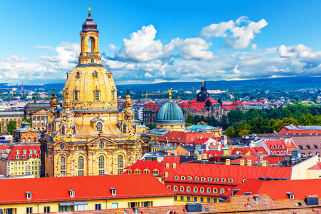 Scenic summer aerial view of of the Old Town architecture of Dresden, Saxony, Germany