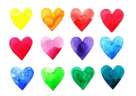 Photo pour Watercolor rainbow hearts - image libre de droit