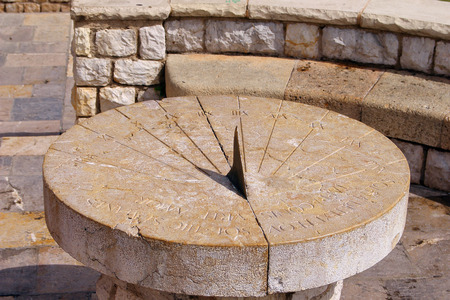Photo pour The picture was taken in Spain, in the ancient city of Tarragona. The picture shows the Ancient Roman sundial. - image libre de droit