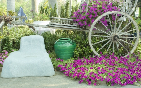 Colorful flower garden antique wooden Wheelchair Thailand