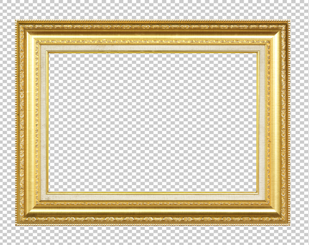 Foto de Golden wooden frame isolated on transparent background - Imagen libre de derechos