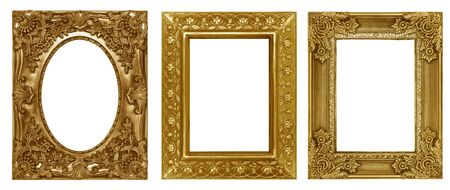 Photo pour Gold picture frame isolated on white background - image libre de droit