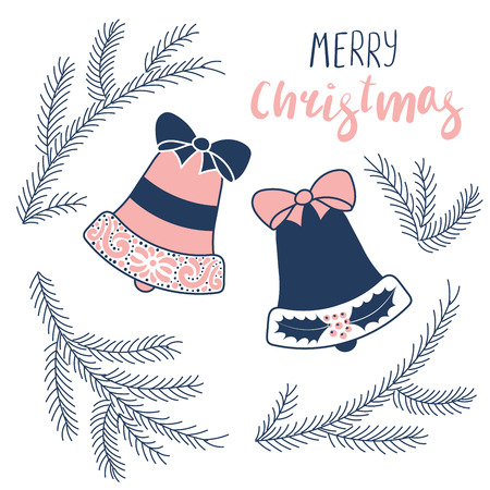 Illustration pour Hand drawn Christmas greeting card with bells and fir tree branches, text Merry Christmas. Isolated objects on white background. Vector illustration. Design concept winter holidays. - image libre de droit