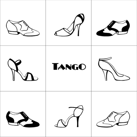 Illustration for Hand drawn argentine tango poster with dancing shoes men and women, on a tiled background, in black and white, with word tango. Postcard, milonga invitation, flyer for tango school or festival. - Royalty Free Image