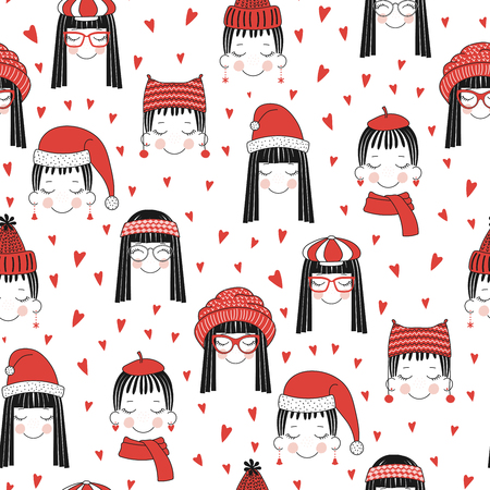 Illustration for Hand drawn seamless vector pattern of cute girls with hat. - Royalty Free Image