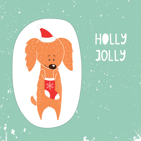 Hand Drawn Winter Holidays Greeting Card With Cute Funny Cartoon Dog