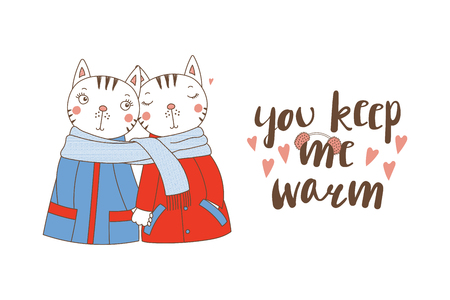 Illustration for Hand drawn illustration of a couple of cute funny animal. - Royalty Free Image
