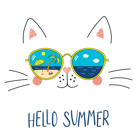 Ilustración de Hand drawn portrait of a cute cartoon funny cat in sunglasses with beach scene reflection, text Hello Summer. Isolated objects on white background. Vector illustration. Design change of seasons. - Imagen libre de derechos