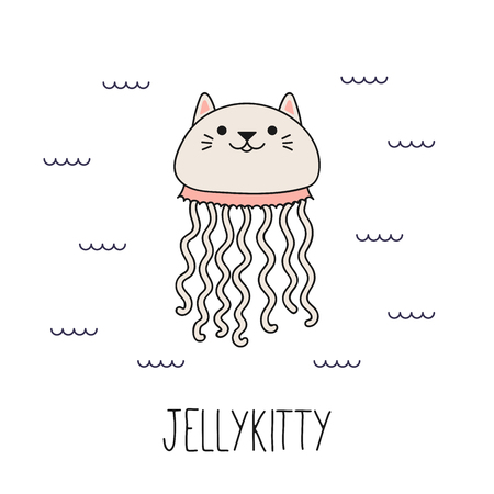 Illustration pour Hand drawn vector illustration of a kawaii funny cat jellyfish, swimming in the sea. Isolated objects on white background. Line drawing. Design concept for children print. - image libre de droit