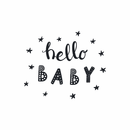 Illustration pour Hand drawn lettering quote Hello Baby with stars, in monochrome. Isolated objects on white background. Vector illustration. Design concept for typographic poster, baby shower, nursery print. - image libre de droit