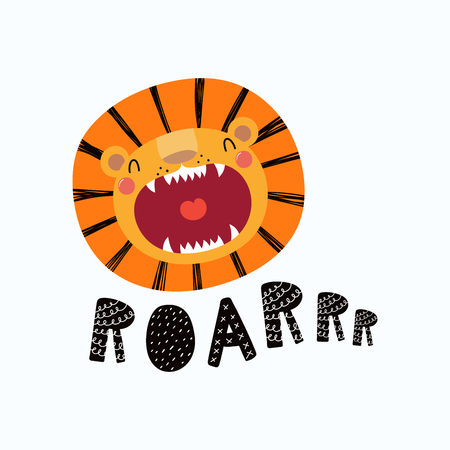 Illustration for Hand drawn vector illustration of a cute funny lion face with open mouth, lettering quote Roar. Isolated objects. Scandinavian style flat design. Concept for children print. - Royalty Free Image