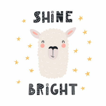 Illustration pour Hand drawn vector illustration of a cute funny llama face, with lettering quote Shine bright. Isolated objects. Scandinavian style flat design. Concept for children print. - image libre de droit