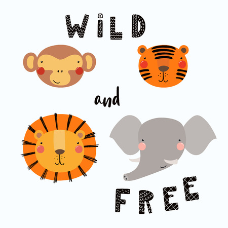 Illustration for Hand drawn vector illustration of a cute funny animal faces, with lettering quote Wild and free. Isolated objects. Scandinavian style flat design. Concept for children print. - Royalty Free Image