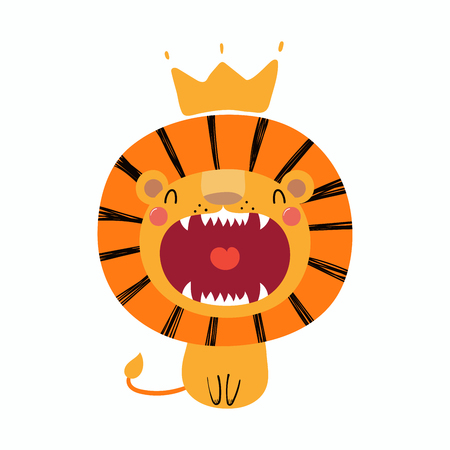 Illustration for Hand drawn vector illustration of a cute funny lion in a crown. - Royalty Free Image
