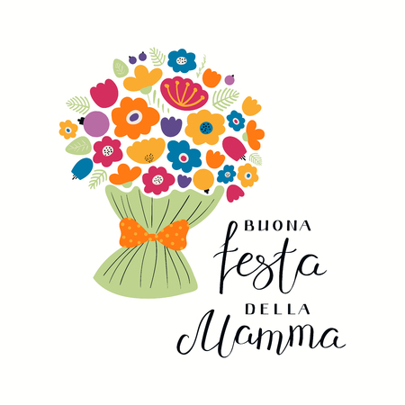 Illustration pour Hand written lettering quote Happy Mothers Day in Italian, Buona festa della mama, with a bouquet flowers. Isolated objects on white. Vector illustration. Design concept for banner, greeting card. - image libre de droit
