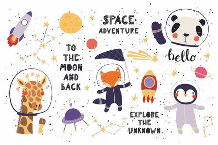Illustration pour Big set of cute funny animal astronauts in space, with planets, stars, quotes. Isolated objects on white background. Vector illustration. Scandinavian style flat design. Concept for children print. - image libre de droit