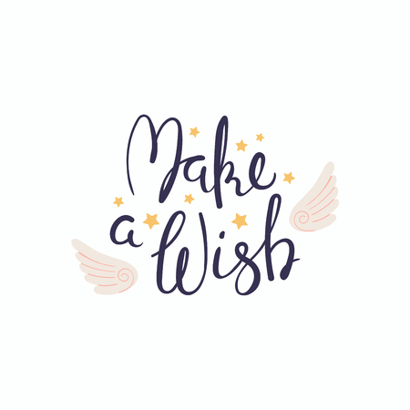 Ilustración de Hand written lettering quote Make a wish with angel wings and stars. Isolated objects on white background. Vector illustration. Design concept for banner, greeting card. - Imagen libre de derechos