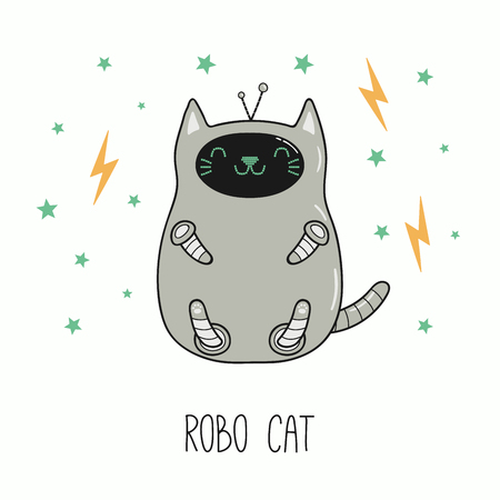 Illustration pour Hand drawn vector illustration of a kawaii funny robot cat. Isolated objects on white background. Line drawing. Design concept for children print. - image libre de droit