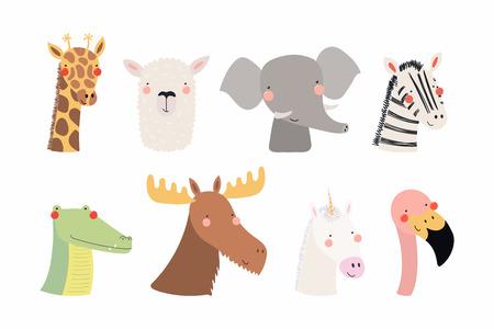 Ilustración de Set of cute funny animals unicorn, zebra, llama, flamingo, giraffe, moose, crocodile, elephant. Isolated objects on white . Vector illustration. Scandinavian style flat design Concept children print - Imagen libre de derechos