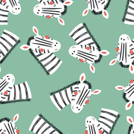 Foto de Hand drawn seamless vector pattern with cute zebra faces, on a green background. Scandinavian style flat design. Concept for children, textile print, wallpaper, wrapping paper. - Imagen libre de derechos