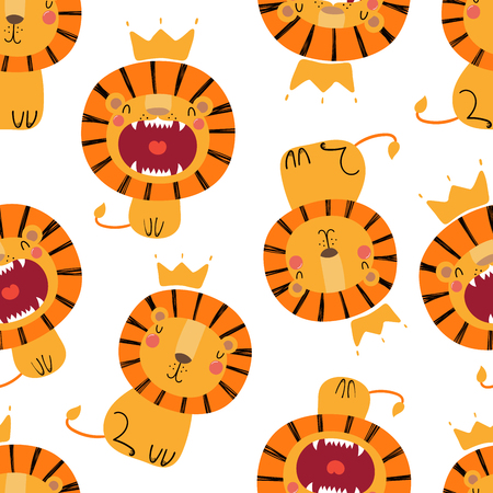 Illustration for Hand drawn seamless vector pattern with cute lions in crowns, on a white background. Scandinavian style flat design. Concept for children, textile print, wallpaper, wrapping paper. - Royalty Free Image