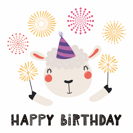 Hand Drawn Birthday Card With Cute Funny Sheep In A Party Hat Sparklers Fireworks