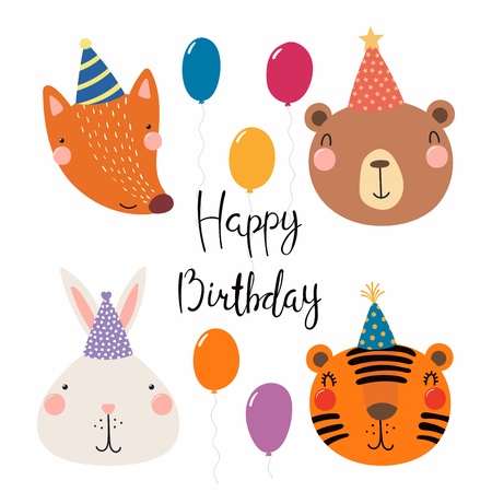 Hand Drawn Birthday Card With Cute Funny Fox Bear Bunny Tiger In Party