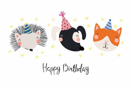 Hand Drawn Birthday Card With Cute Funny Dog Cat Hedgehog In Party Hats