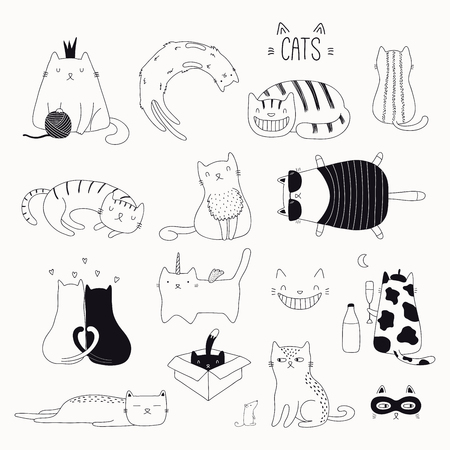 Ilustración de Set of cute funny black and white doodles of different cats. Isolated objects. Hand drawn vector illustration. Line drawing. Design concept for poster, t-shirt, fashion print. - Imagen libre de derechos