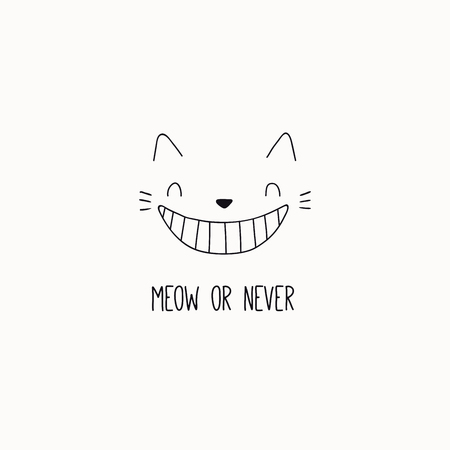 Illustration pour Hand drawn black and white vector illustration of a cute funny cheshire cat face, grinning, with quote Meow or never. Isolated objects. Line drawing. Design concept for poster, t-shirt print. - image libre de droit