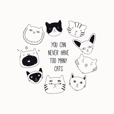 Ilustración de Set of cute funny black and white doodles of different cats faces. Round frame with quote. Isolated objects. Hand drawn vector illustration. Line drawing. Design concept for poster, t-shirt print. - Imagen libre de derechos