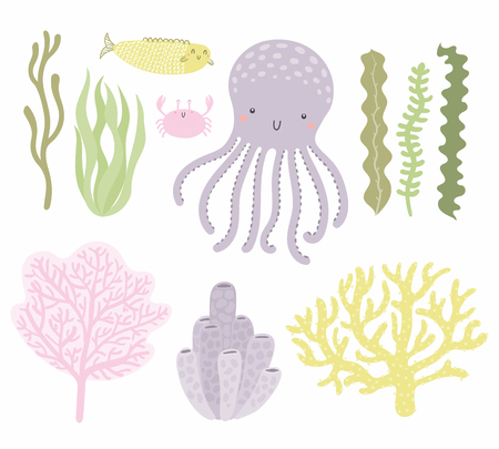 Illustration pour Sea set with cute funny octopus, crab, fish, corals, seaweed. Isolated objects on white background. Hand drawn vector illustration. Scandinavian style flat design. Concept for children print. - image libre de droit
