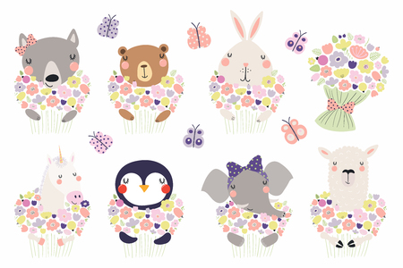 Illustration pour Set of cute funny little animals with flowers bear, unicorn, llama, penguin, bunny, wolf, elephant. Isolated objects on white. Vector illustration. Scandinavian style design. Concept children print - image libre de droit
