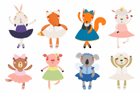 Illustration pour Set of cute funny little animals ballerinas bear, sheep, bunny, fox, pig, squirrel, sloth, koala. Isolated objects on white. Vector illustration. Scandinavian style flat design. Concept children print - image libre de droit