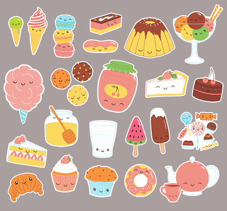 Ilustración de Set of kawaii funny sweet food doodle stickers with cake, cookies, ice cream, candy, jam, macarons. Isolated objects. Hand drawn vector illustration. Line drawing. Design concept dessert, kids print. - Imagen libre de derechos