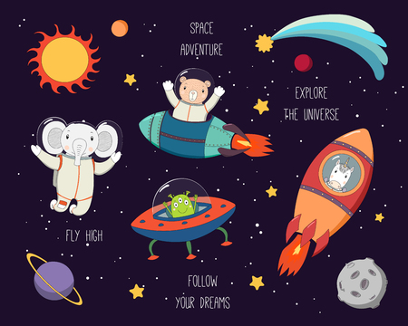 Illustration pour Set of cute funny elephant, bear, unicorn astronauts, alien in space, with planets, stars, quotes. Hand drawn vector illustration. Line drawing. Design concept for children print. - image libre de droit