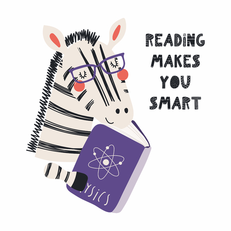 Ilustración de Hand drawn vector illustration of a cute funny zebra reading a book, with quote Reading makes you smart. Isolated objects on white background. Scandinavian style flat design. Concept children print. - Imagen libre de derechos