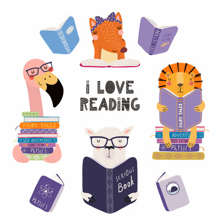 Photo for Set of cute funny animals with books, lion, llama, flamingo, fox, with quote. Isolated objects on white background. Hand drawn vector illustration. Scandinavian style flat design. Concept kids print. - Royalty Free Image