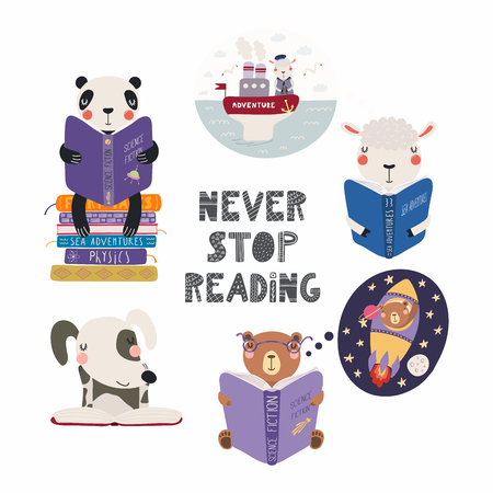 Illustration pour Set of cute funny animals with books, bear, panda, sheep, dog, with quote. Isolated objects on white background. Hand drawn vector illustration. Scandinavian style flat design. Concept children print. - image libre de droit