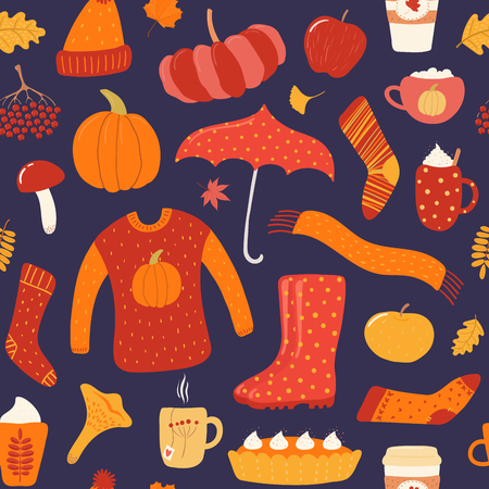 Illustration for Seamless repeat pattern with warm clothes, umbrella, boots, food, leaves, on a blue background. Hand drawn vector illustration. Flat style design. Concept for autumn print, wallpaper, wrapping paper. - Royalty Free Image