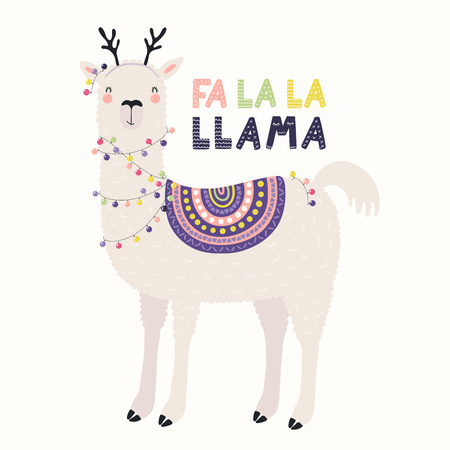 Illustration for Hand drawn vector illustration of a cute funny llama in deer antlers, with lights, text Fa la la llama. Isolated objects on white. Scandinavian style flat design. Concept for Christmas card, invite. - Royalty Free Image