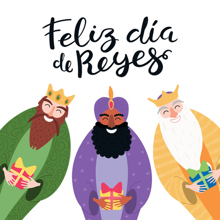 Ilustración de Hand drawn vector illustration of three kings with gifts, Spanish quote Feliz Dia de Reyes, Happy Kings Day. Isolated objects on white. Flat style design. Concept, element for Epiphany card, banner. - Imagen libre de derechos
