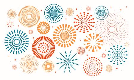 Illustration pour Colorful fireworks on white background. Vector illustration. Flat style design. Concept for holiday banner, poster, flyer, greeting card, decorative element. - image libre de droit