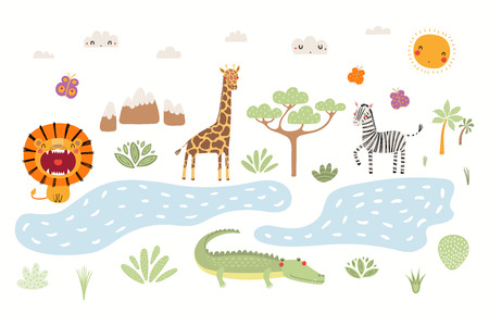 Photo for Hand drawn vector illustration of cute animals lion, zebra, crocodile, giraffe, African landscape. Isolated objects on white background. Scandinavian style flat design. Concept for children print. - Royalty Free Image