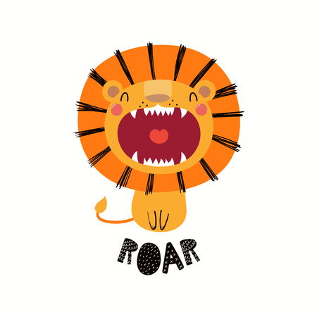 Illustration for Hand drawn vector illustration of a cute funny lion with open mouth, with lettering quote Roar. Isolated objects on white background. Scandinavian style flat design. Concept for children print. - Royalty Free Image