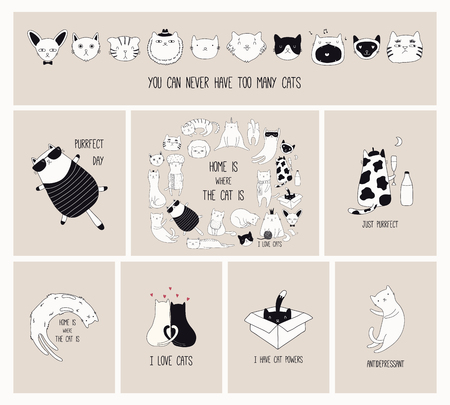 Illustration for Set of cards with cute monochrome doodles of different cats with funny quotes for cat lovers. Hand drawn vector illustration. Line drawing. Design concept for poster, t-shirt, fashion print. - Royalty Free Image