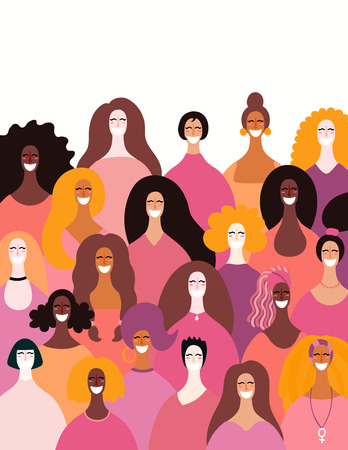 Illustration pour Diverse women faces background. Hand drawn vector illustration. Flat style design. Concept, element for feminism, girl power, womens day card, poster, banner. - image libre de droit