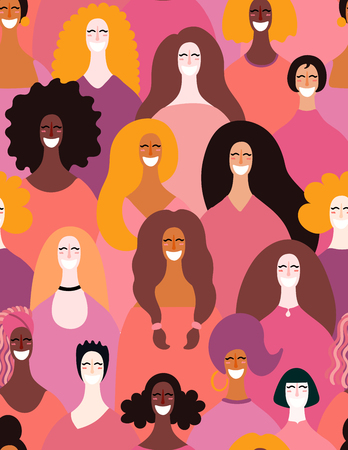 Illustration pour Hand drawn seamless pattern with diverse women faces. Vector illustration. Flat style design. Concept, element for feminism, womens day card, poster, banner, textile, wallpaper, packaging background - image libre de droit