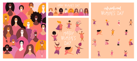 Illustration pour Set of womens day cards with diverse women and lettering quotes. Hand drawn vector illustration. Flat style design. Concept, element for feminism, girl power, poster, banner, background. - image libre de droit